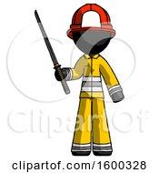 Black Firefighter Fireman Man Standing Up With Ninja Sword Katana