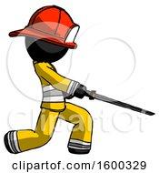 Black Firefighter Fireman Man With Ninja Sword Katana Slicing Or Striking Something