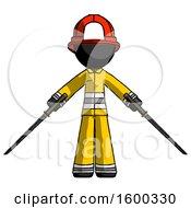 Black Firefighter Fireman Man Posing With Two Ninja Sword Katanas