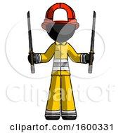 Black Firefighter Fireman Man Posing With Two Ninja Sword Katanas Up