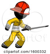 Black Firefighter Fireman Man Stabbing With Ninja Sword Katana