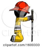 Black Firefighter Fireman Man Kneeling With Ninja Sword Katana Showing Respect