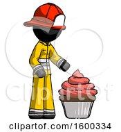 Black Firefighter Fireman Man with Giant Cupcake Dessert by Leo Blanchette #COLLC1600334-0020