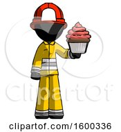 Black Firefighter Fireman Man Presenting Pink Cupcake To Viewer