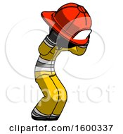Black Firefighter Fireman Man With Headache Or Covering Ears Turned To His Right