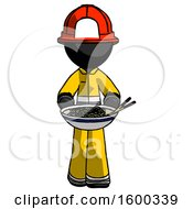 Black Firefighter Fireman Man Serving Or Presenting Noodles