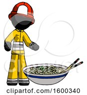 Black Firefighter Fireman Man And Noodle Bowl Giant Soup Restaraunt Concept