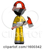 Black Firefighter Fireman Man Holding Red Fire Fighters Ax
