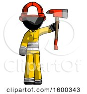 Black Firefighter Fireman Man Holding Up Red Firefighters Ax