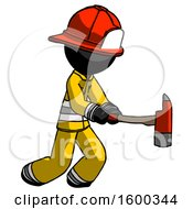 Black Firefighter Fireman Man With Ax Hitting Striking Or Chopping