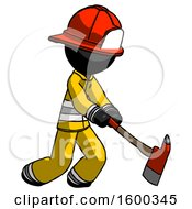Black Firefighter Fireman Man Striking With A Red Firefighters Ax