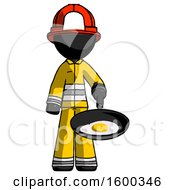 Black Firefighter Fireman Man Frying Egg In Pan Or Wok