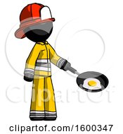 Black Firefighter Fireman Man Frying Egg In Pan Or Wok Facing Right