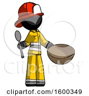 Black Firefighter Fireman Man With Empty Bowl And Spoon Ready To Make Something