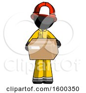 Black Firefighter Fireman Man Holding Box Sent Or Arriving In Mail
