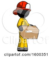 Black Firefighter Fireman Man Holding Package To Send Or Recieve In Mail