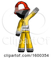 Black Firefighter Fireman Man Waving Emphatically With Left Arm