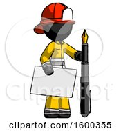 Black Firefighter Fireman Man Holding Large Envelope And Calligraphy Pen