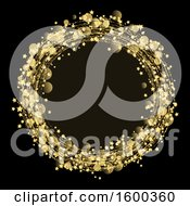 Clipart Of A Golden Circle Frame On Black Royalty Free Vector Illustration