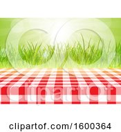 Gingham Table Cloth On A Table Over Grass And Sunshine