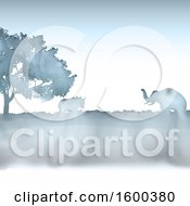 Poster, Art Print Of Silhouetted Watercolor African Landscape With An Elephant And Rhinoceros