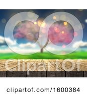 Clipart Of A 3d Wood Surface And Blurred View Of A Spring Tree Royalty Free Illustration