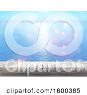 Clipart Of A 3d Wood Surface And Ocean View Royalty Free Illustration