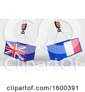 3d Hoisted Shipping Containers With British And French Flags