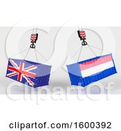 Clipart Of 3d Hoisted Shipping Containers With British And Dutch Flags Royalty Free Illustration