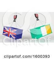 3d Hoisted Shipping Containers With British And Irish Flags