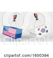 3d Hoisted Shipping Containers With American And South Korean Flags