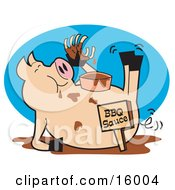 Fat Hugry Pig Chowing Down On Ribs And Bbq Sauce Clipart Illustration