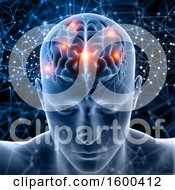 Clipart Of A 3d Man With Visible Lit Up Areas In His Brain Royalty Free Illustration