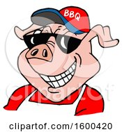 Clipart Of A Pig Wearing A Bbq Hat And Sunglasses Royalty Free Vector Illustration
