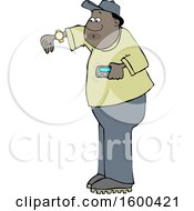 Clipart Of A Cartoon Black Man Checking His Wrist Watch Royalty Free Vector Illustration