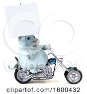 3d White Kitty Cat Biker Riding A Chopper Motorcycle On A White Background