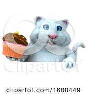 Clipart Of A 3d White Kitty Cat Holding A Cupcake On A White Background Royalty Free Illustration