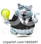 3d White Business Kitty Cat Holding A Light Bulb On A White Background