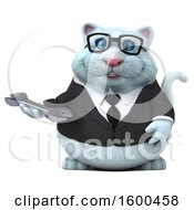 Clipart Of A 3d White Business Kitty Cat Holding A Wrench On A White Background Royalty Free Illustration