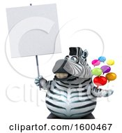 3d Zebra Holding Messages On A White Background