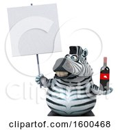 July 15th, 2018: Clipart Of A 3d Zebra Holding Wine On A White Background Royalty Free Illustration by Julos