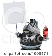 Clipart Of A 3d Business Zebra Holding A Soda On A White Background Royalty Free Illustration