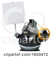 Clipart Of A 3d Business Zebra Holding A Tv On A White Background Royalty Free Illustration
