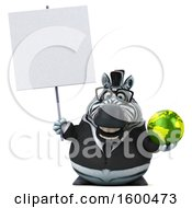 Clipart Of A 3d Business Zebra Holding A Globe On A White Background Royalty Free Illustration