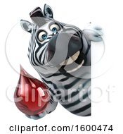 July 15th, 2018: Clipart Of A 3d Zebra Holding A Blood Drop On A White Background Royalty Free Illustration by Julos