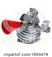 July 15th, 2018: Clipart Of A 3d Zebra Holding A Euro On A White Background Royalty Free Illustration by Julos