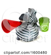 July 15th, 2018: Clipart Of A 3d Zebra Holding A Recycle Bin On A White Background Royalty Free Illustration by Julos