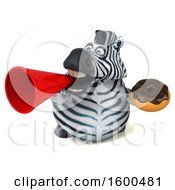 July 15th, 2018: Clipart Of A 3d Zebra Holding A Donut On A White Background Royalty Free Illustration by Julos