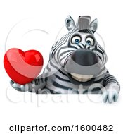 July 15th, 2018: Clipart Of A 3d Zebra Holding A Heart On A White Background Royalty Free Illustration by Julos