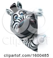 July 15th, 2018: Clipart Of A 3d Zebra Pointing Around A Sign On A White Background Royalty Free Illustration by Julos